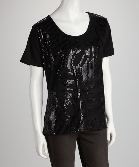 Black Sequin Sparkle Top