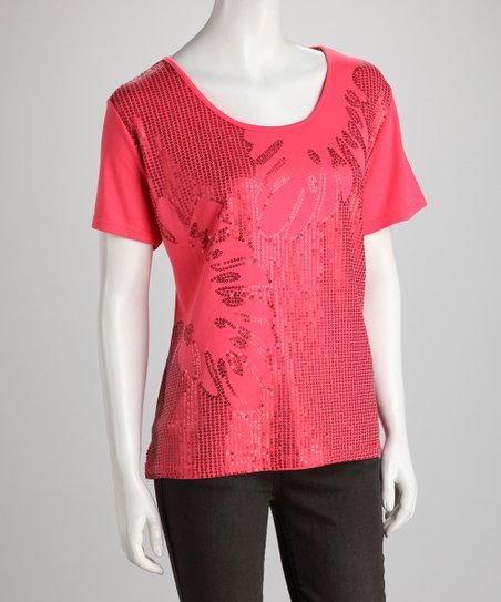 Coral Sequin Sparkle Top