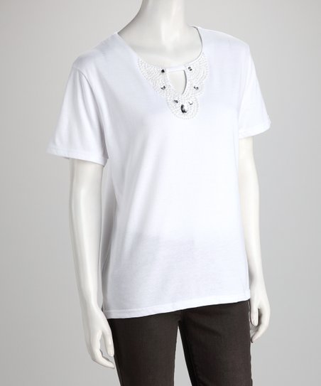White Rhinestone Keyhole Tee