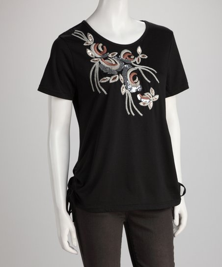 Black Sequin Bough Tee