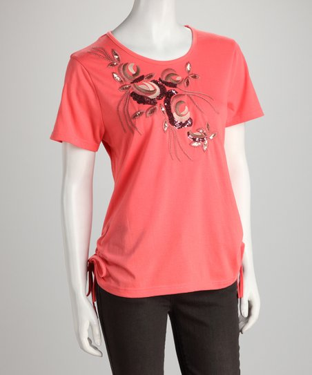 Coral Sequin Bough Tee