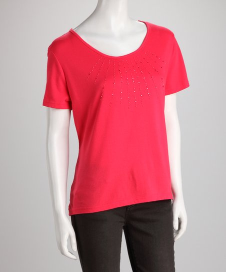Coral Rhinestone Crocheted-Back Top