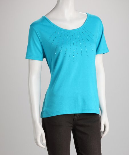 Turquoise Rhinestone Crocheted-Back Top
