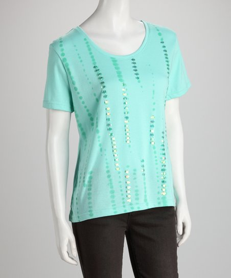 Seafoam Tie-Dye Sequin Tee