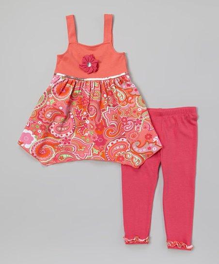 Coral & Pink Paisley Tunic & Leggings - Infant, Toddler & Girls