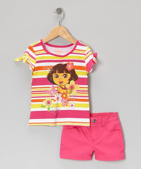 Pink & Yellow Stripe Dora Tee & Shorts - Infant, Toddler & Girls