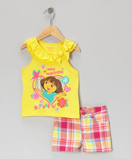 Yellow & Pink Plaid Dora Tank & Shorts - Infant, Toddler & Girls