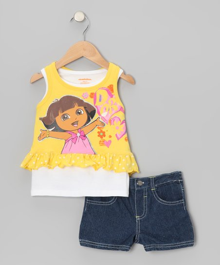 Yellow 'Dora' Layered Tank & Denim Shorts - Infant, Toddler & Girls