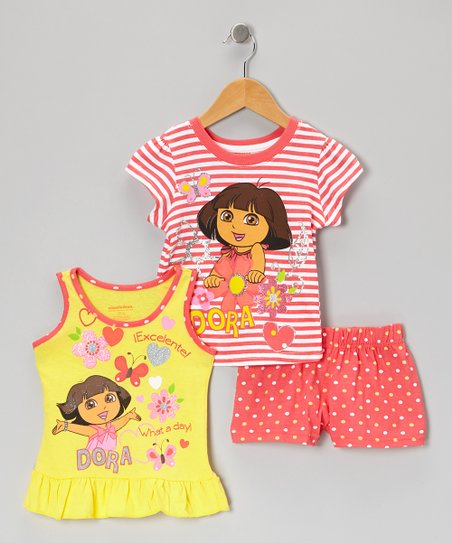 Coral & Yellow Stripe 'Dora' Shorts Set - Toddler & Girls