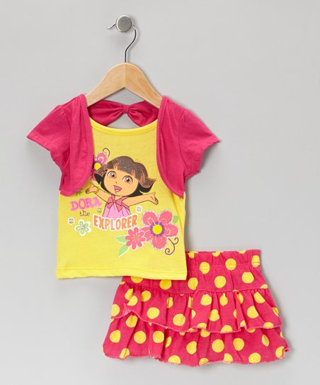 Dark Pink & Yellow Polka Dot 'Dora' Tee & Skirt - Infant & Girls