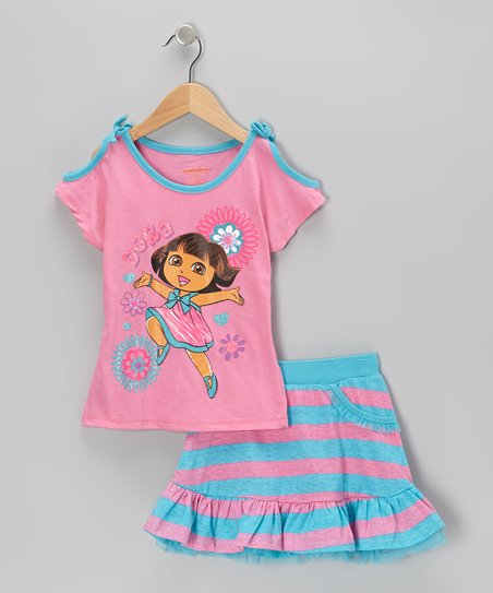 Blue & Pink Dora Cutout Top & Skirt - Girls