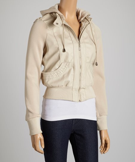 Beige Hooded Faux Leather Jacket