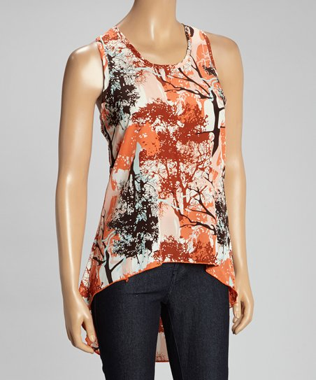 Orange Abstract Hi-Low Tunic