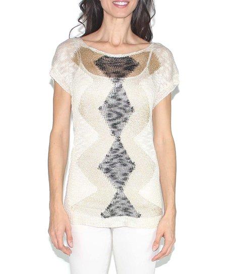 Beige & Black Zigzag Cap-Sleeve Sweater