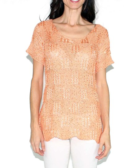 Orange Sparkle Scallop Scoop Neck Sweater