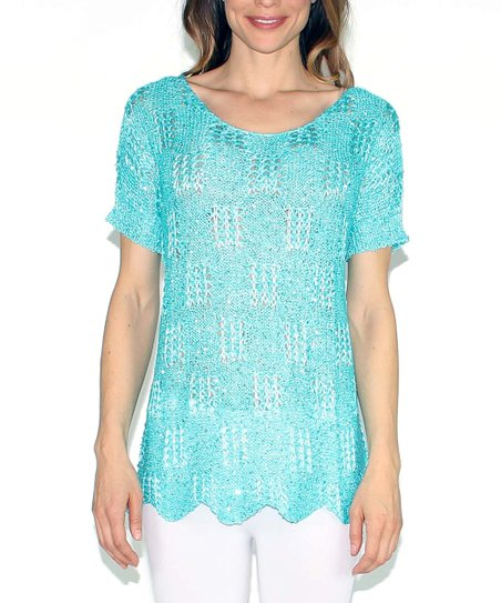 Aqua Sparkle Scallop Scoop Neck Sweater