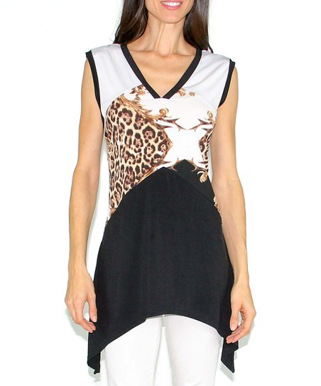 Black & Gold Color Block Jungle V-Neck Top