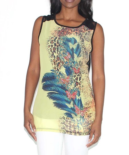 Yellow & Black Lace Jungle Tank