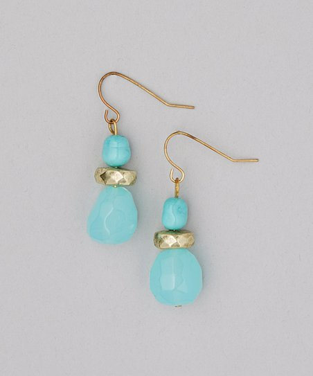 Gold & Turquoise Lucite Drop Earrings