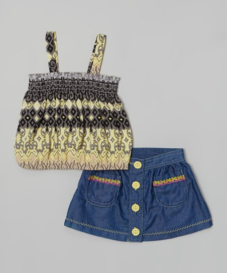 Yellow Tribal Camisole & Denim Skirt - Toddler & Girls