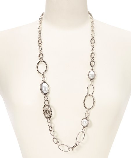 Silver & Pearl Link Necklace