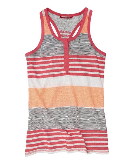 Flamingo Aurora Stripe Henley Tank - Girls