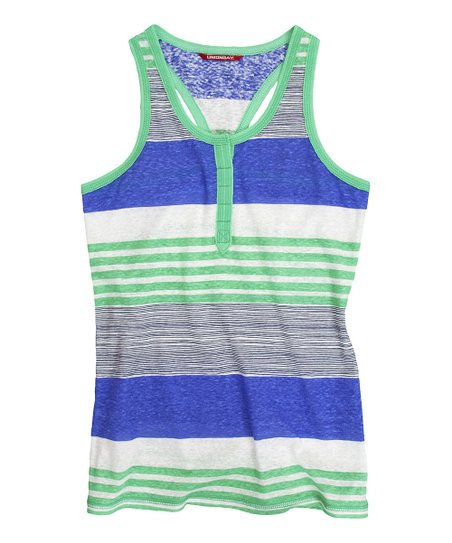 Spring Green Aurora Stripe Henley Tank - Girls