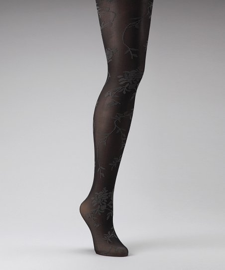 Chinese Laundry Black & Gray Floral Vine Tights - Women