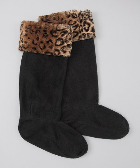 Chinese Laundry Black Leopard Boot Liners - Women