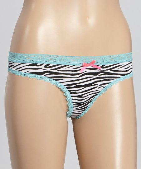 Blue & Black Zebra Lace Thong - Women