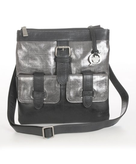 Black Pewter Porto Leather Crossbody Bag