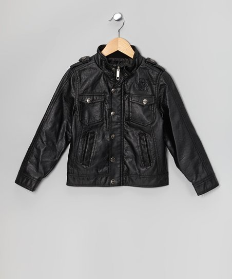 Black Nappa Lamb Faux Leather Jacket - Infant, Toddler & Boys