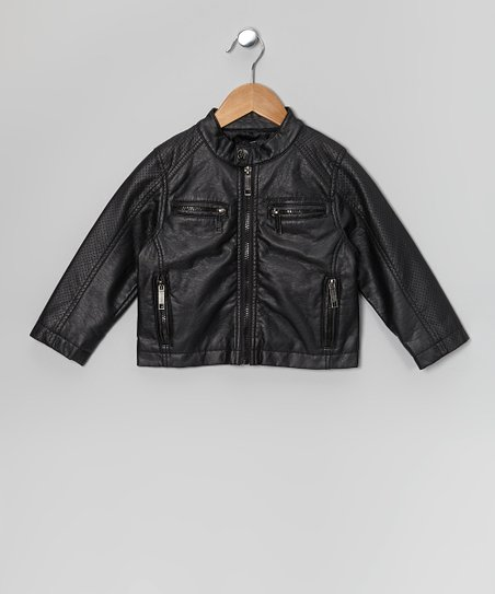 Black Perforated Nappa Lamb Faux Leather Jacket - Boys