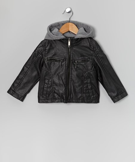 Black Faux Leather Hooded Jacket  - Boys