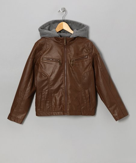 Brown Faux Leather Zip-up Hoodie Jacket - Infant, Toddler & Boys