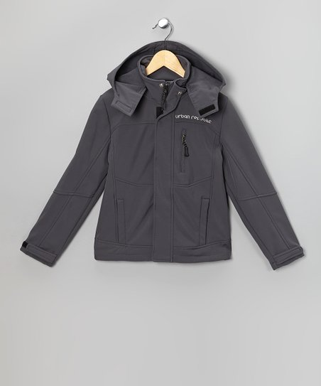 Gray Soft-Shell Hooded Jacket - Toddler & Boys