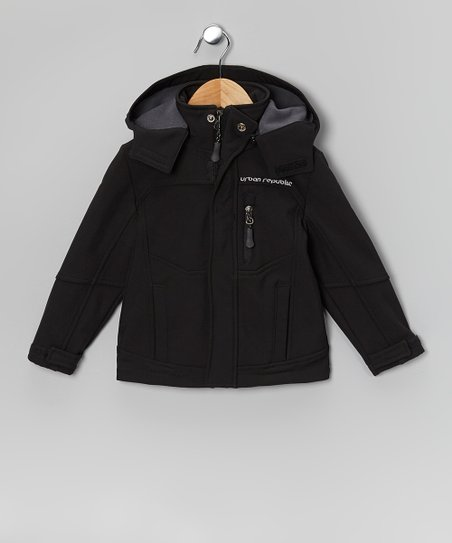 Black Soft-Shell Hooded Jacket - Boys