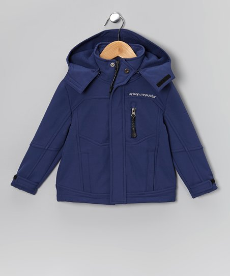 Navy Soft-Shell Hooded Jacket - Boys