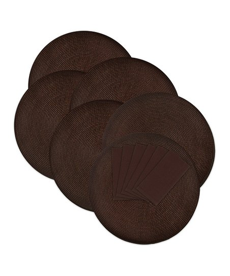 Chocolate Round Place Mat & Napkin Set