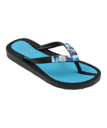 Black & Teal Sparkle Textured Jelly Flip-Flop
