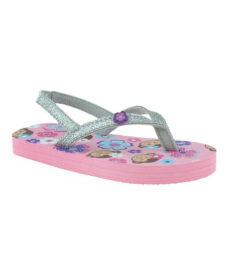 Light Pink & Silver Glitter Flip-Flop - Kids