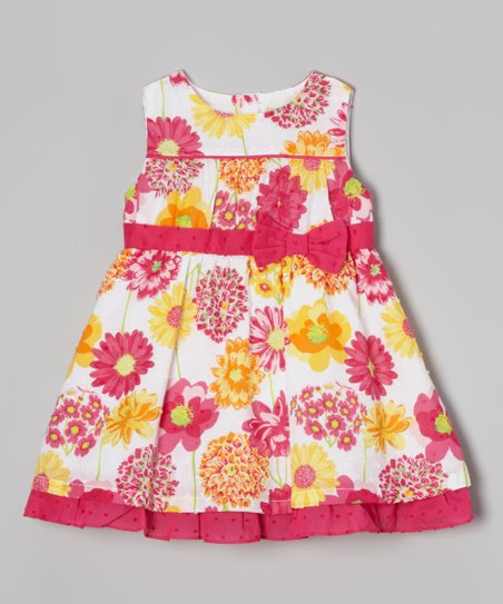 Fuchsia Floral A-Line Dress - Infant, Toddler & Girls