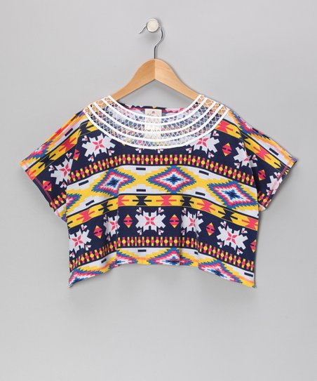 Coral & Yellow Tribal Cutout Top - Girls