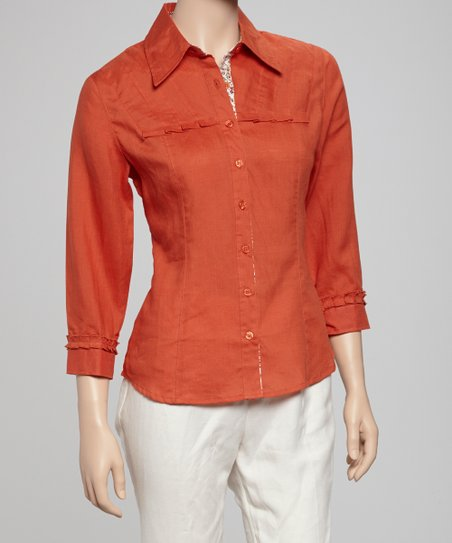 Dark Orange Three-Quarter Sleeve Top