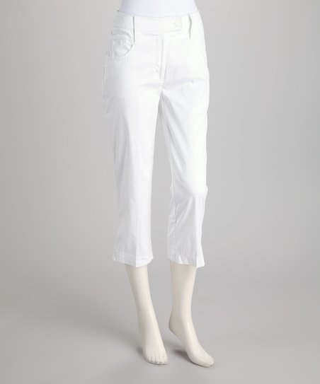 White Tab Capri Pants