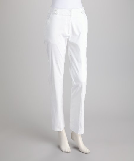 White Button-Waist Trim Pants