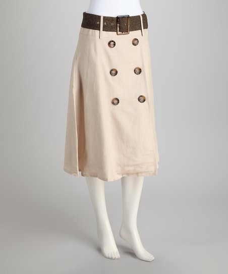 Stone Button Belted Skirt