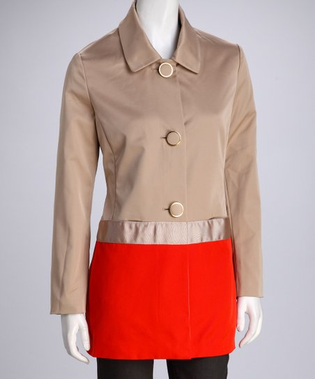 Khaki & Coral Color Block Coat - Women