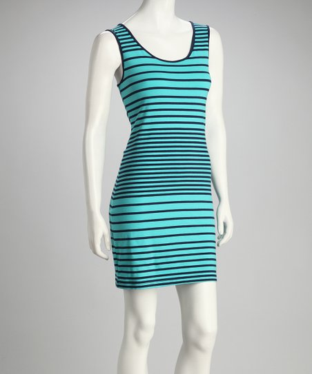 Sea &amp; Navy Stripe Sleeveless Dress