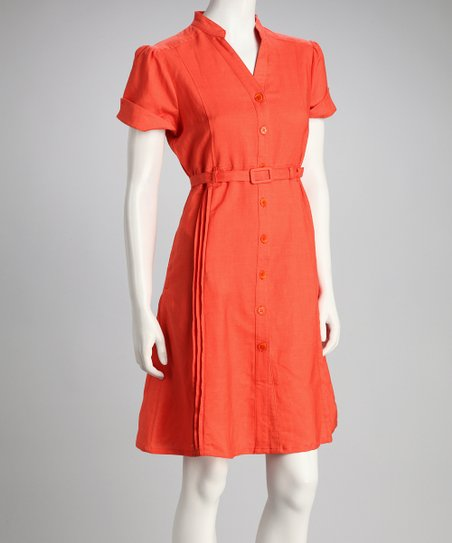 Guava Orange Belted Button-Up Dress